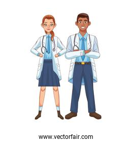 professional doctors interracial couple avatars characters