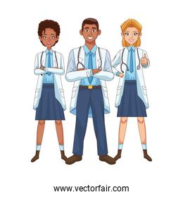 smiling professional doctors staff interracial avatars characters
