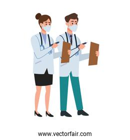 doctors professional couple with face mask characters