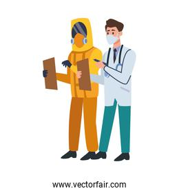 doctors with face masks and biosafety suit character