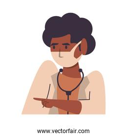afro female doctor with face mask character