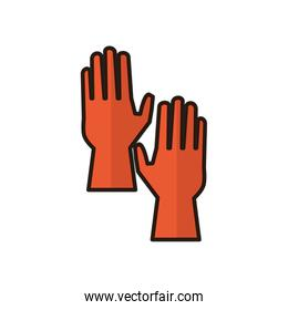 rubber gloves flat style icon
