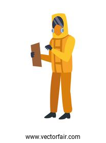 person with biosafety suit character