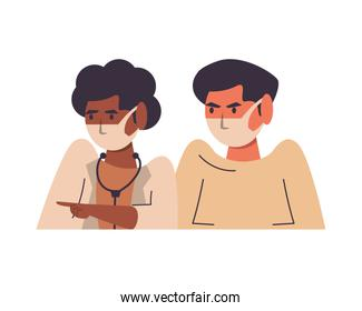 afro female doctor with male patient using face masks