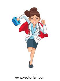 super female doctor runing with medical kit