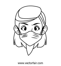 young woman using face mask character