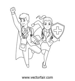 super doctors couple with shield characters