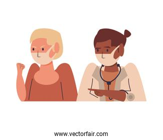 afro female doctor with patient using face masks