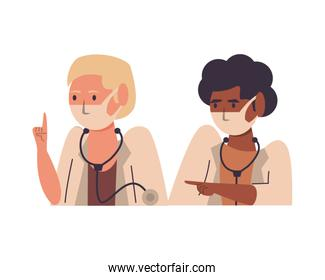 interracial female doctors using face masks characters