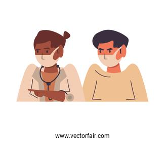 afro female doctor with male patient using medical masks