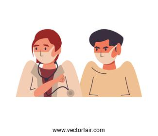 female doctor with male patient using face masks