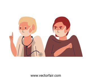 female doctor and patient using face masks characters