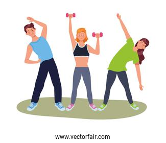 young people athletes practicing exercise characters