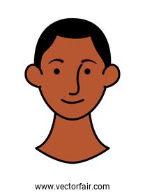 afro young man head character icon
