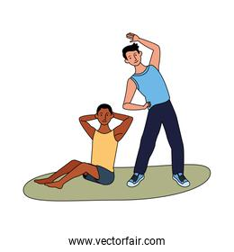 interracial men athletes practicing exercise characters
