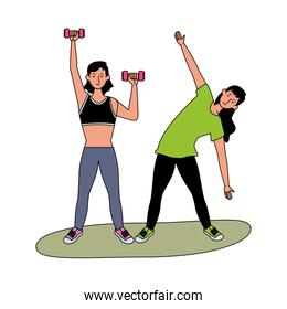 young girls athletes practicing exercise characters