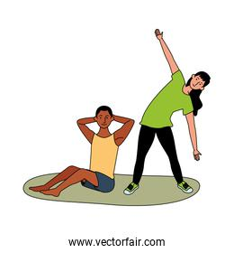 interracial couple athlete practicing exercise characters