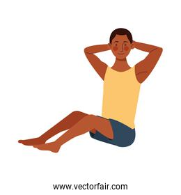 afro young man athlete practicing exercise character