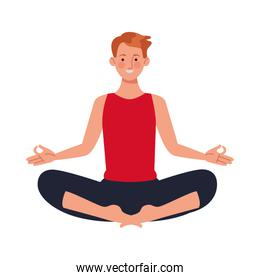 young man athlete practicing yoga character