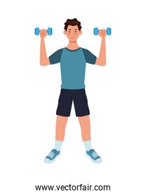 young man athlete lifting dumbbells
