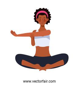 afro young woman athlete practicing yoga character