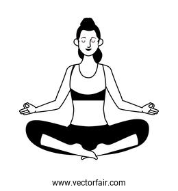 young woman athlete practicing yoga character