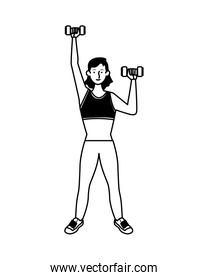 young woman athlete lifting dumbbells character