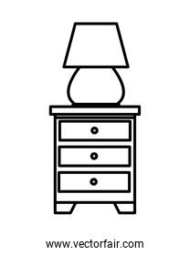 drawer with lamp forniture icons
