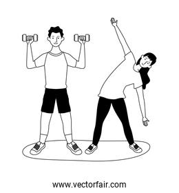 young couple athletes practicing exercise characters