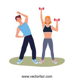 young couple athlete practicing exercise characters