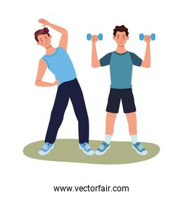young men athletes practicing exercise characters