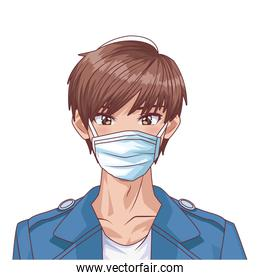 young man using face mask anime character