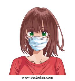 woman using face mask anime character