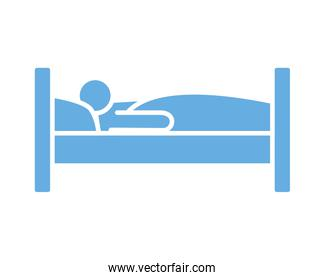 person in bed line style icon
