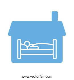 house with person sleeping in bed line style icon