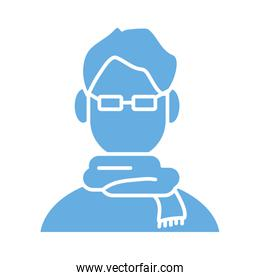 young man with scarf line style icon