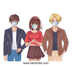 young people using face masks anime characters