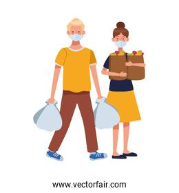 couple using face masks in supermarket