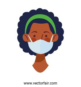 afro woman using face mask head character