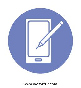 smartphone with pencil block style icon
