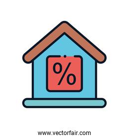 sale house line fill style icon vector design