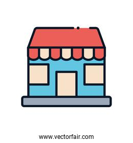 Store line fill style icon vector design