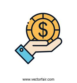Isolated coin over hand line fill style icon vector design