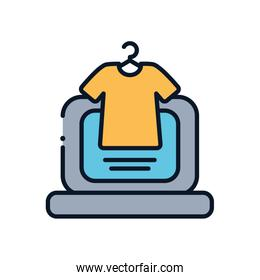 laptop and tshirt line fill style icon vector design