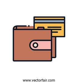 Isolated credit card inisde wallet line fill style icon vector design