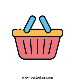shopping basket line fill style icon vector design