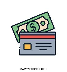 Isolated bill and credit card line fill style icon vector design