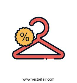 handger and sale stamp line fill style icon vector design