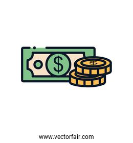 Isolated bill and coins line fill style icon vector design