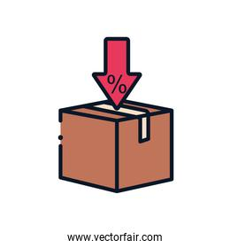 Isolated delivery box and sale arrow line fill style icon vector design